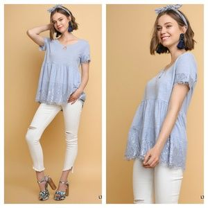 Tops - Sky babydoll lace top